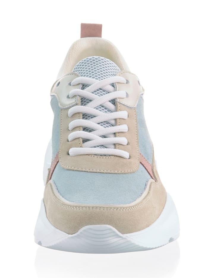 Sneaker aus Rindsleder mit Textileinsätzen