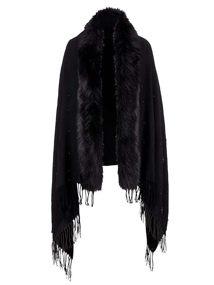 MONA Faux fur shawl with fringed hem, Black