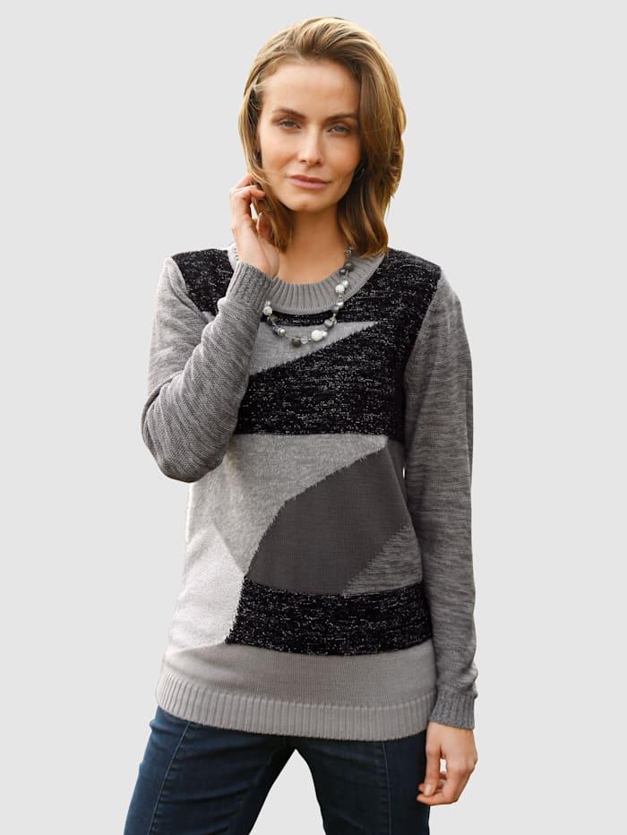 Paola Trui in patchworklook, Donkergrijs/Zwart/Zilverkleur