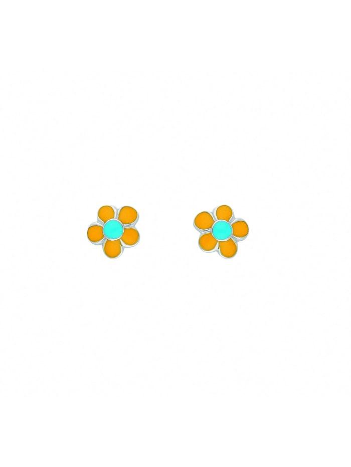 1001 Diamonds Damen Silberschmuck 925 Silber Ohrringe / Ohrstecker Blüte - gelb, silber