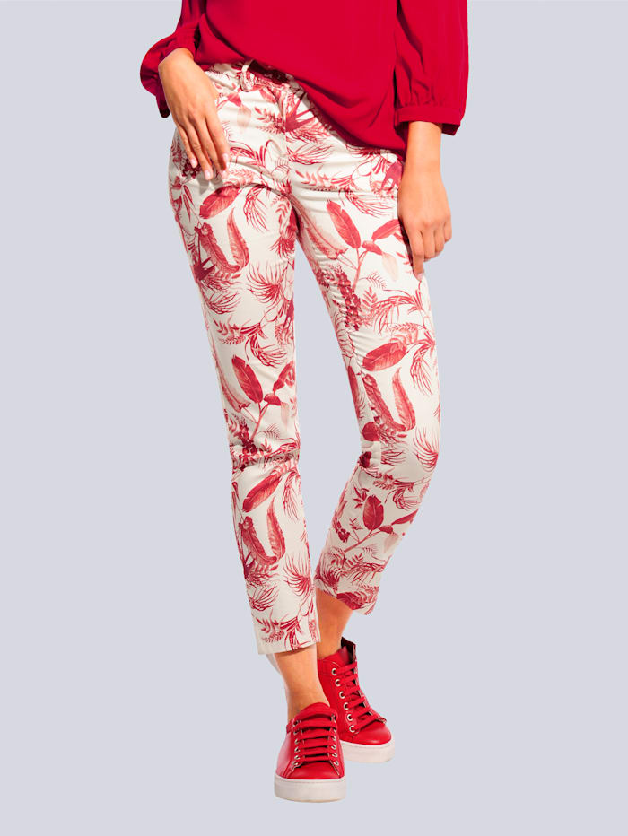 Alba Moda Hose im Tropical-Dessin allover, Off-white/Rot