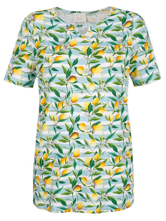 Paola Shirt mit Zitronen-Druck, Gelb/Hellblau/Weiß