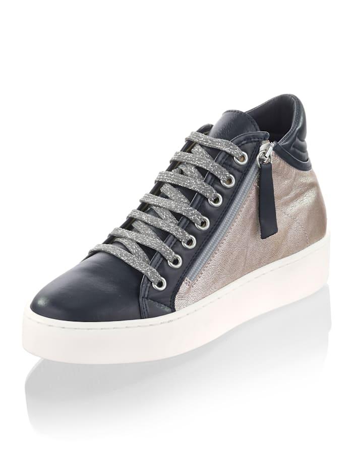 Alba Moda Hoge sneaker met metallic leer opzij, Marine