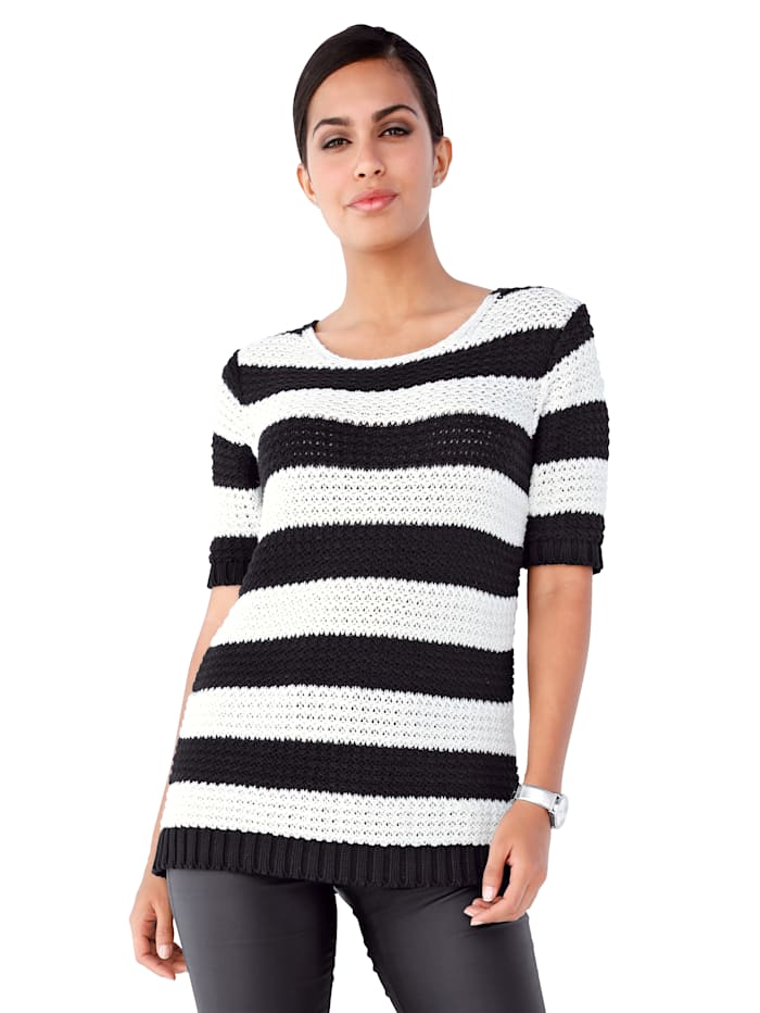 Pullover mit sportivem Streifenmuster