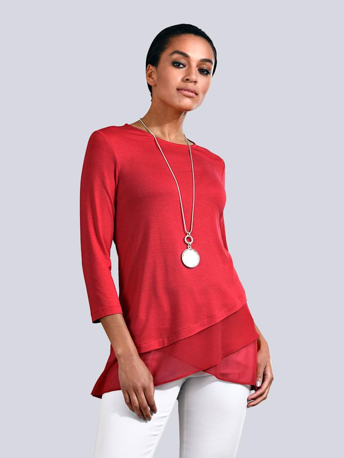 Alba Moda Shirt met beleg van chiffon, Koraal