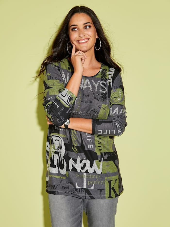 MIAMODA T-shirt en maille fine avec strass, Gris/Noir/Vert