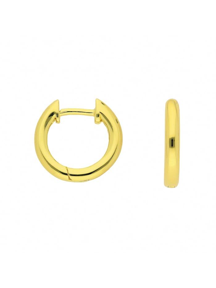 1001 Diamonds Damen Silberschmuck 925 Silber Ohrringe / Creolen Ø 13,5 mm, vergoldet