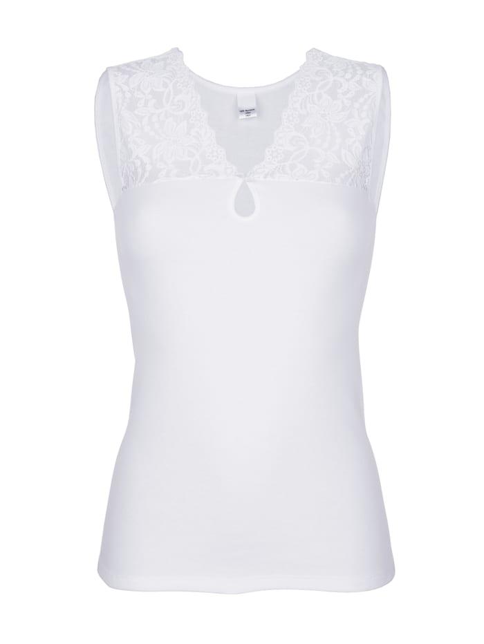 Harmony Blazershirt mit Zierschleife und Spitze am Tropfenausschnitt, Weiß