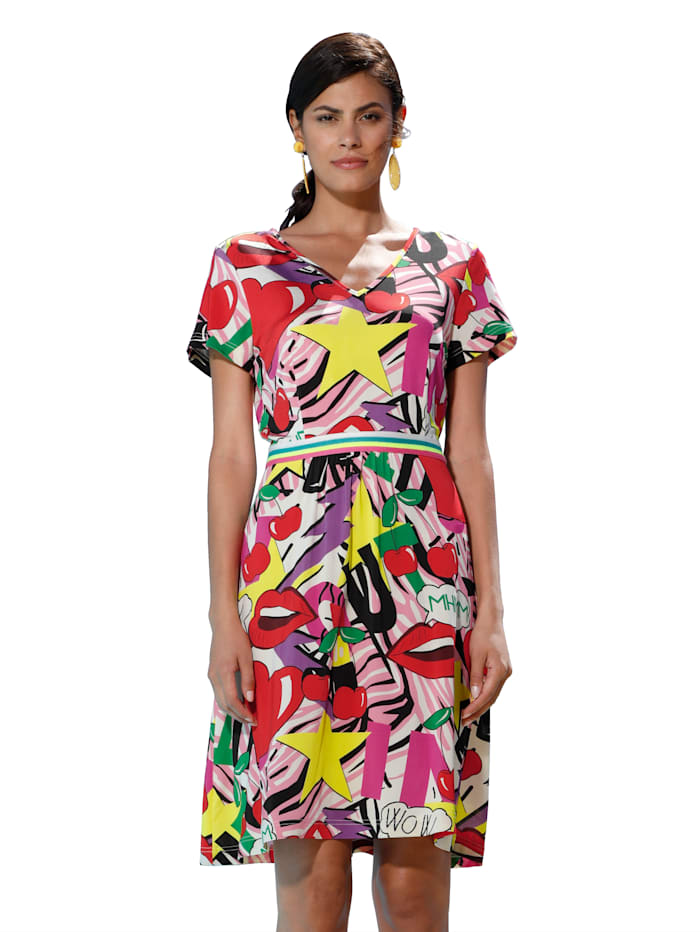 AMY VERMONT Kleid mit modischem Druck, Rot/Gelb/Pink/Schwarz