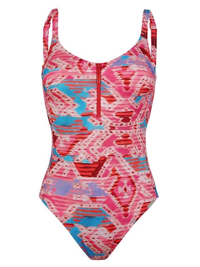Lidea Badpak met grafisch patroon, Pink