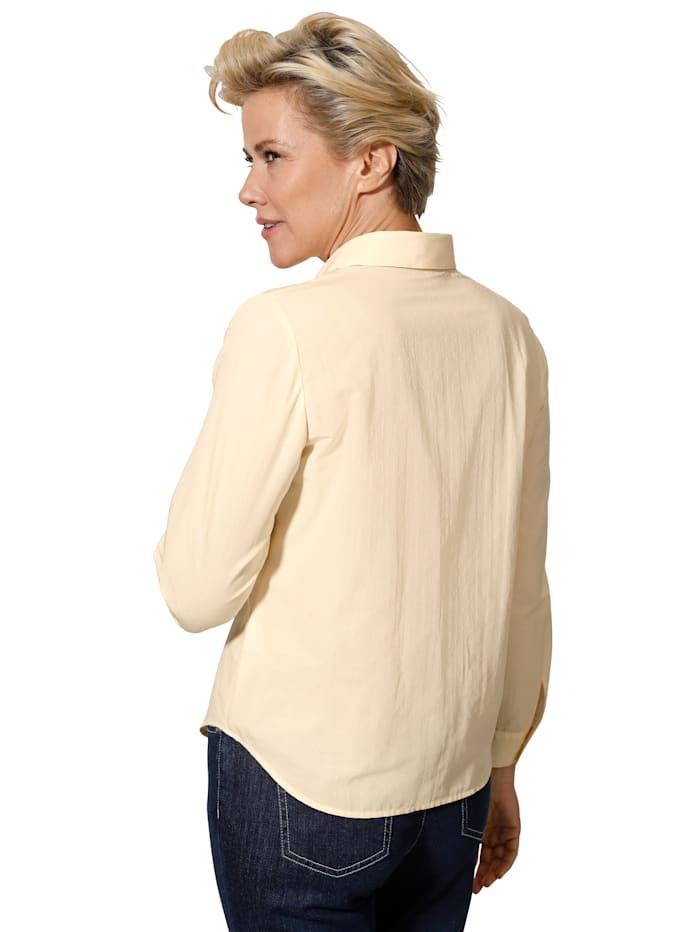 Bluse mit Stickdessin in Pünktchenoptik