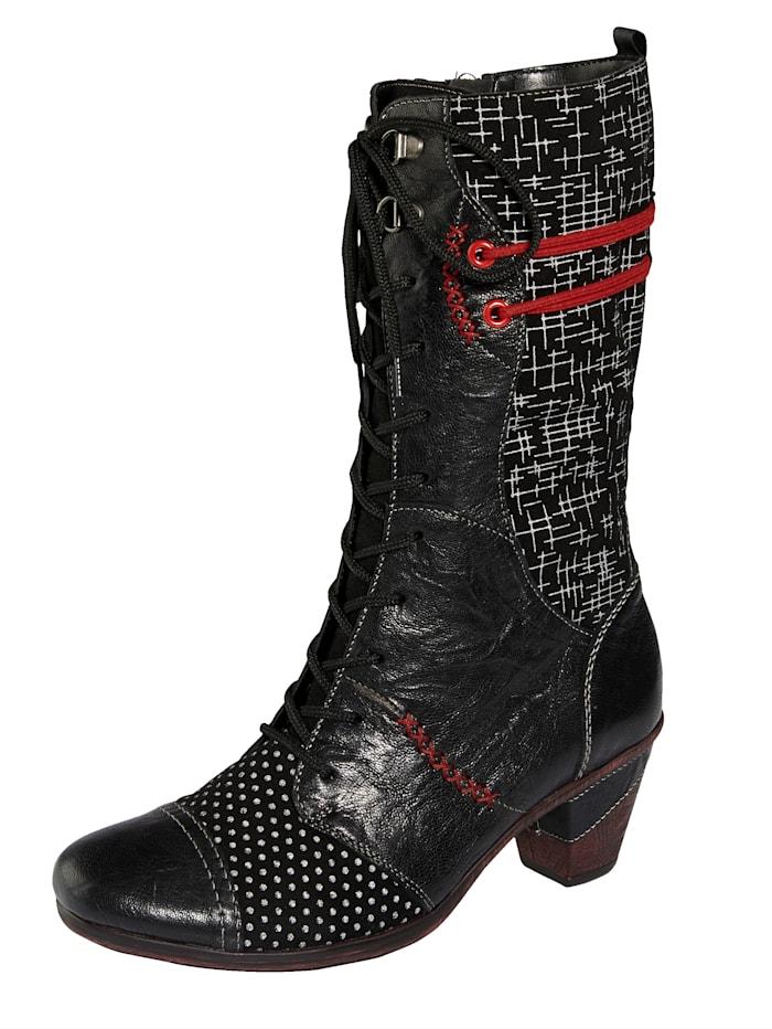 Remonte Šnurovacie čižmy s extravagantným dizajnom, Čierna