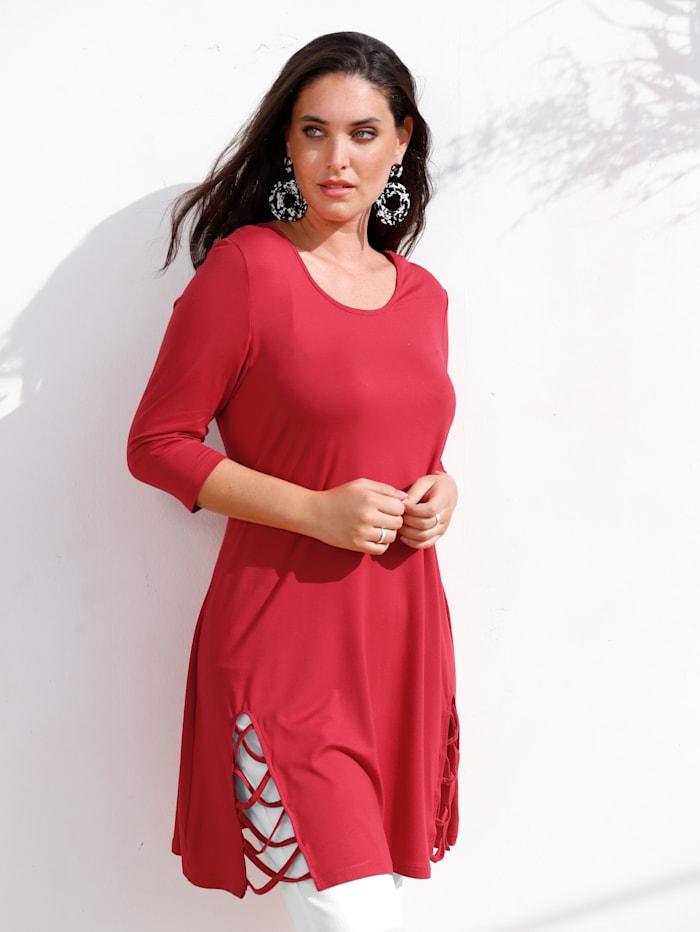 MIAMODA Longshirt mit Bänderdetail am Saum, Rot