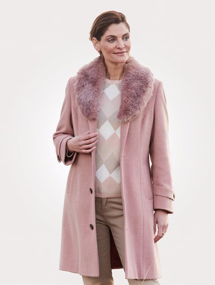 MONA Wollen mantel met opvallende sjaalkraag, Rozenhout