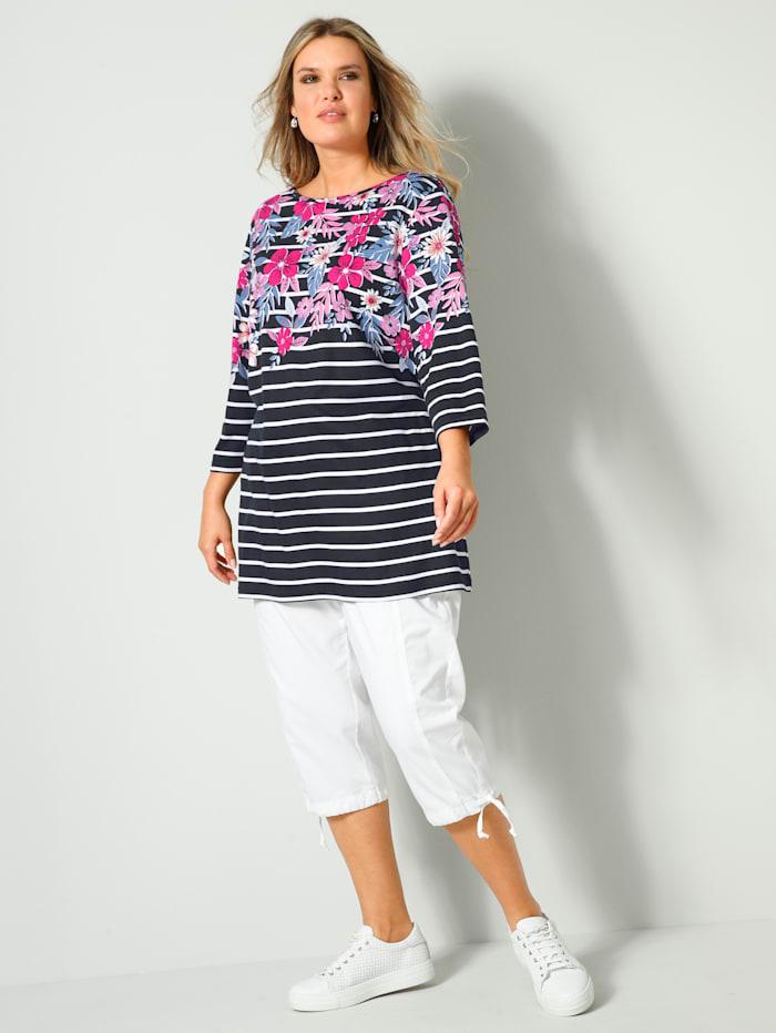 Shirt geringelt und mit Flower Print