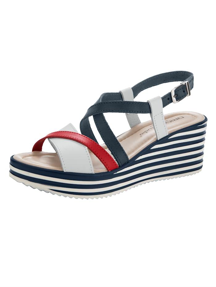 Sandales compensées de style marin, Marine/Blanc/Rouge