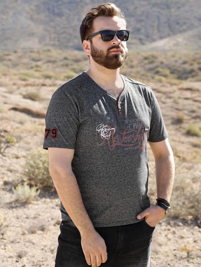 Men Plus T-shirt van gemêleerd materiaal, Marine/Roest/Grijs