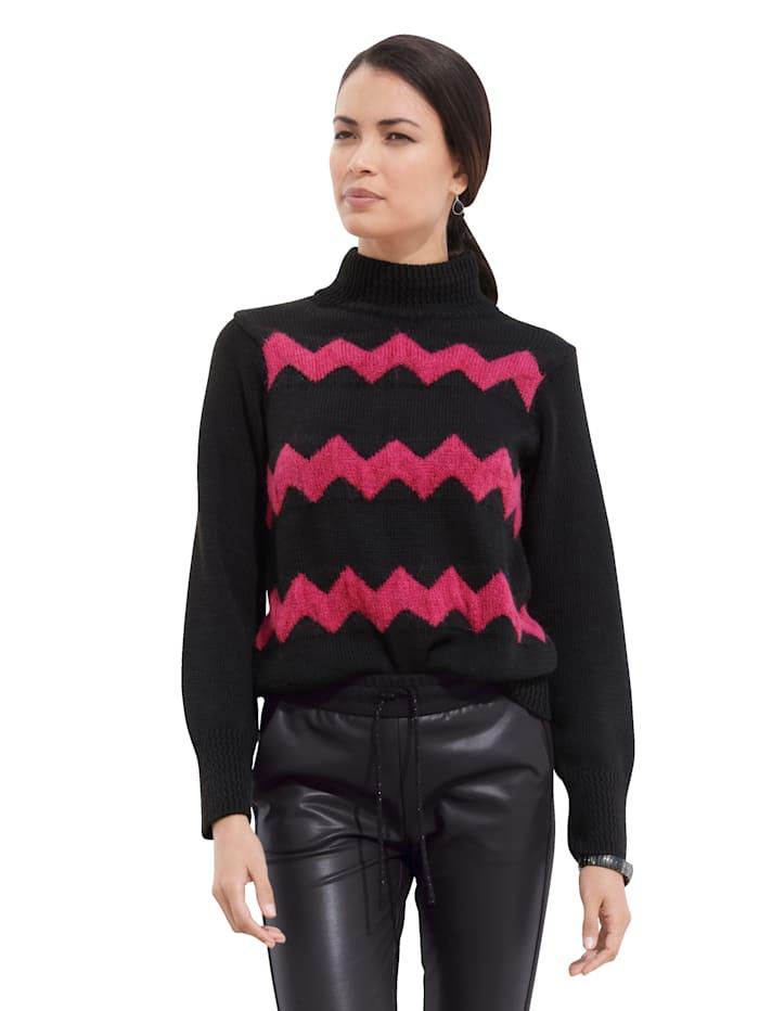 AMY VERMONT Pullover mit Zick-Zack-Muster, Schwarz/Pink