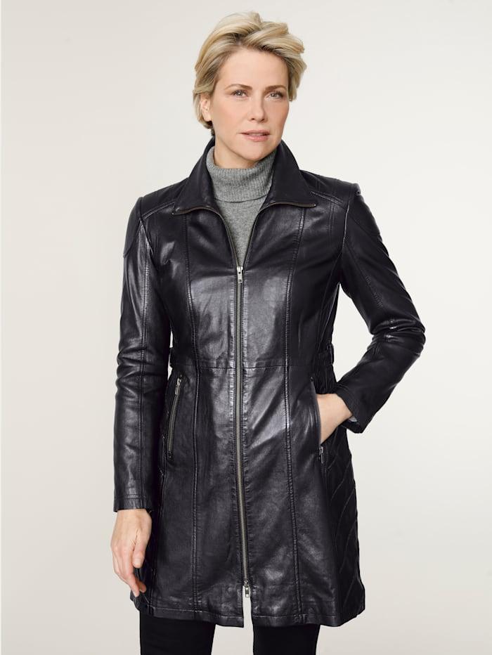 MONA Leren jas met mooie naadvoering, Zwart
