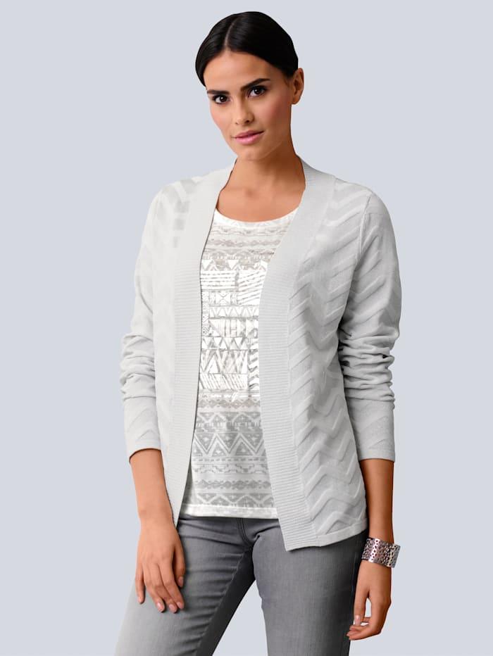 Alba Moda Gilet maille à superbe motif zigzag, Blanc cassé/Coloris argent