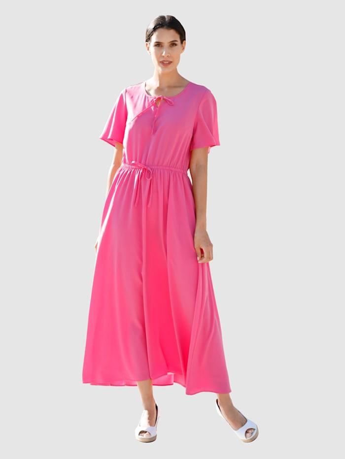Laura Kent Kleid mit Bindeband am Ausschnitt, Cyclam