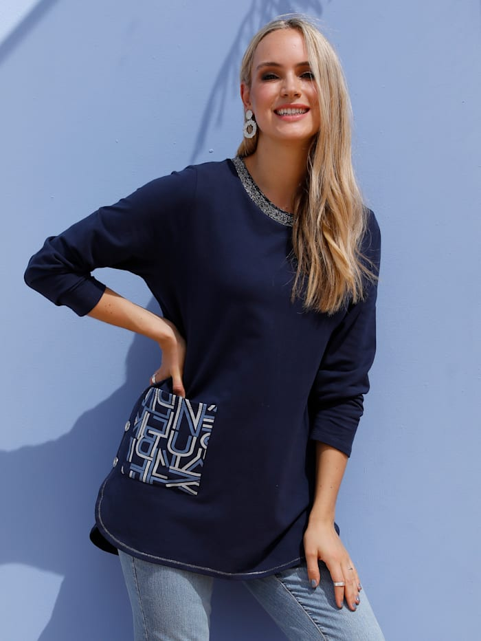MIAMODA Sweatshirt mit Dekoknöpfen, Marineblau