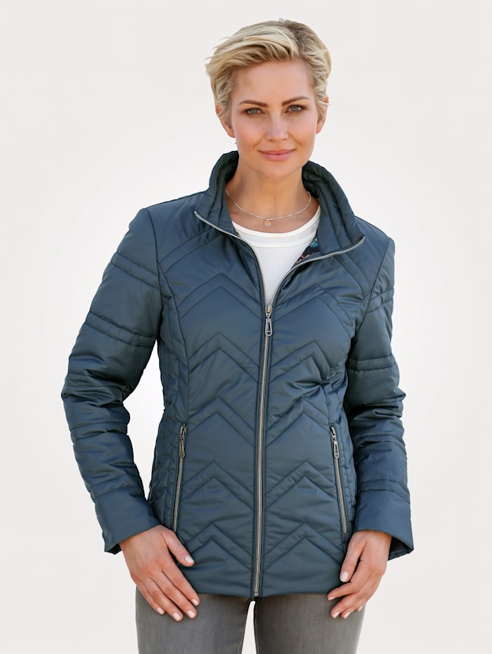 MONA Quilted jacket with chevron quilting, Petrol