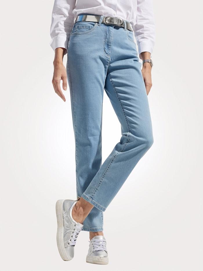 MONA Jeans mit Logostickerei, Hellblau