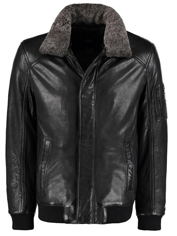 DNR Jackets Lederjacke mit Kontrastfutter und Reißverschluss, Grey