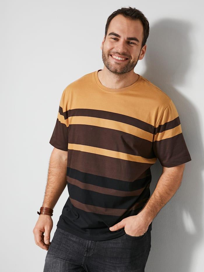 Men Plus T-shirt van zuiver katoen, Zand/Donkerbruin