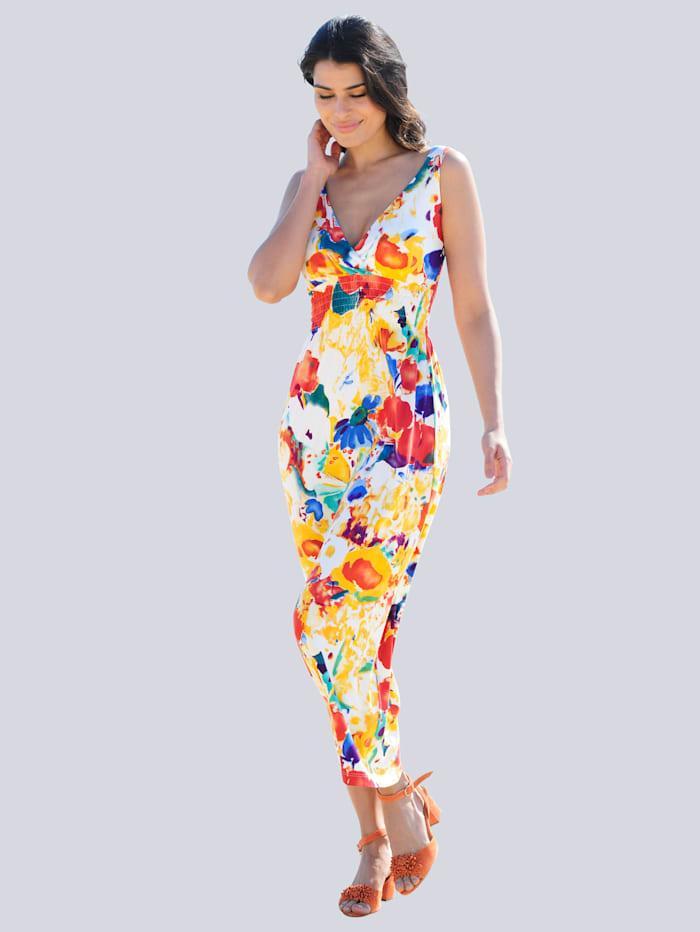 Alba Moda Strandkleid in Wickeloptik, Gelb-Multi