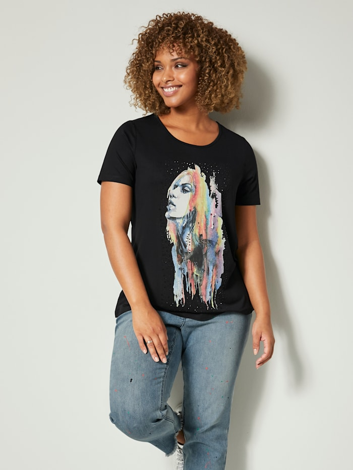 Angel of Style Shirt mit Strasssteinen, Schwarz/Weiß