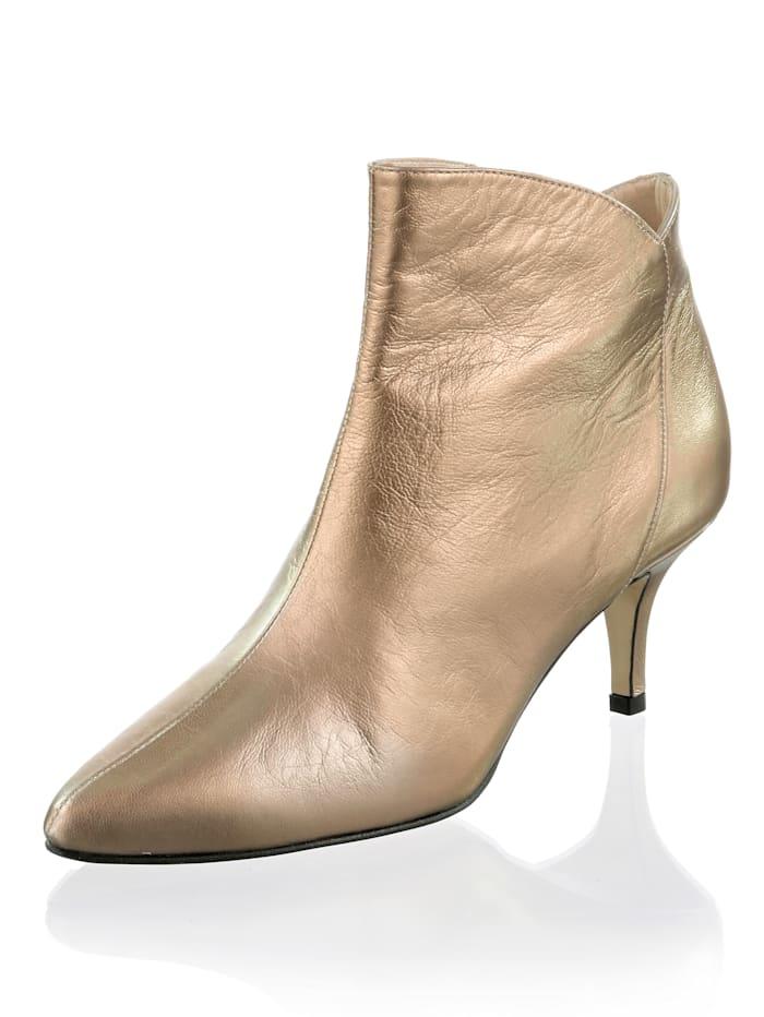 Alba Moda Enkellaarsje in metallic look, Bronskleur