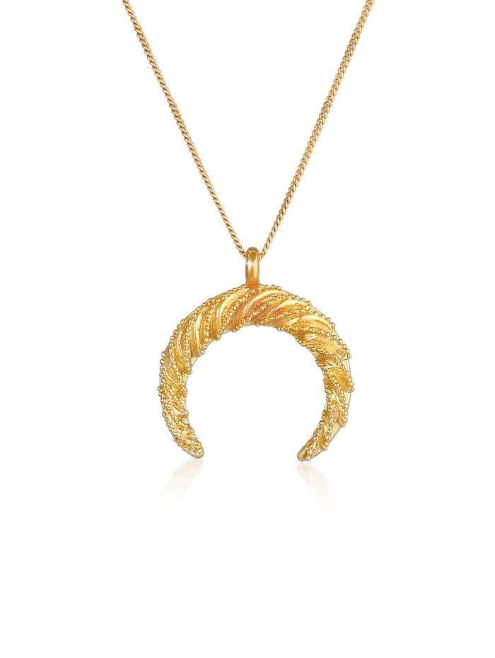 Elli Halskette Sichel Halbmond Gedreht Verziert 925 Silber, Gold