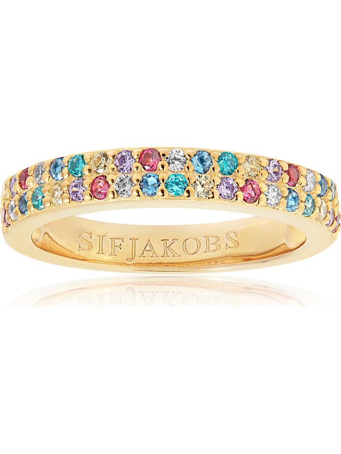 Sif Jakobs Sif Jakobs Jewellery Damen-Damenring 925er Silber rhodiniert Farbstein, gold