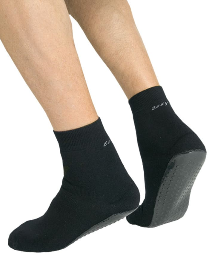 Suprima Damen- und Herren Anti-Rutsch-Socke, Schwarz