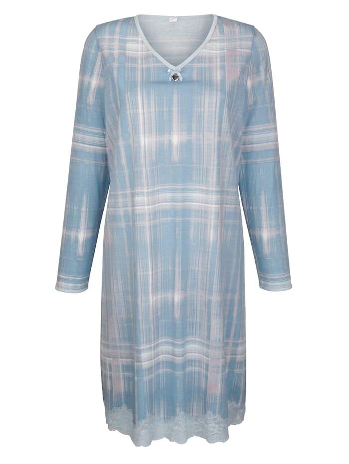 Simone Nachthemd mit dekorativem Spitzensaum, Hellblau/Petrol/Grau