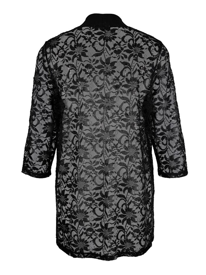 Tričkový kabátik v transparentnej čipkovej kvalite