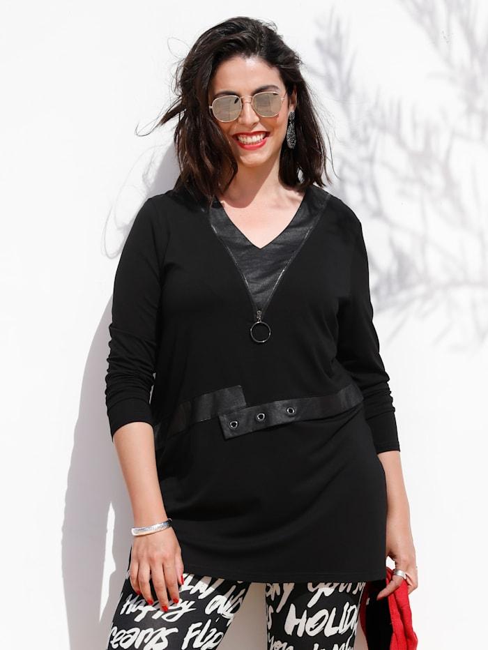 MIAMODA Longshirt met elementen van imitatieleer, Zwart