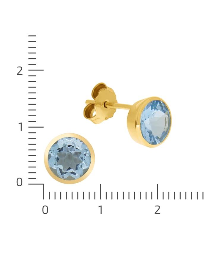 Ohrstecker 375/- Gold Blautopas beh. blau 0,9cm Glänzend