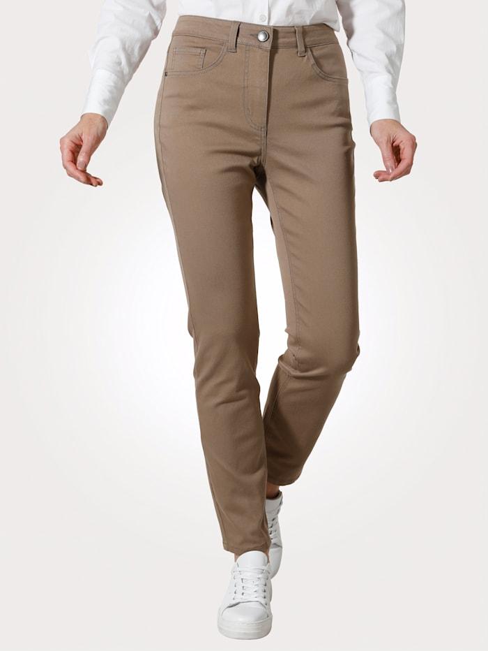 MONA Kalhoty s částečně elastickou pasovkou od vel. 44, Bahenní