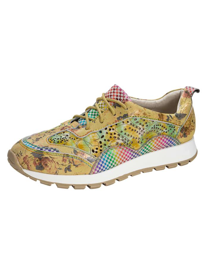 Laura Vita Sneaker in harmonischer und floraler Kombination, Gelb