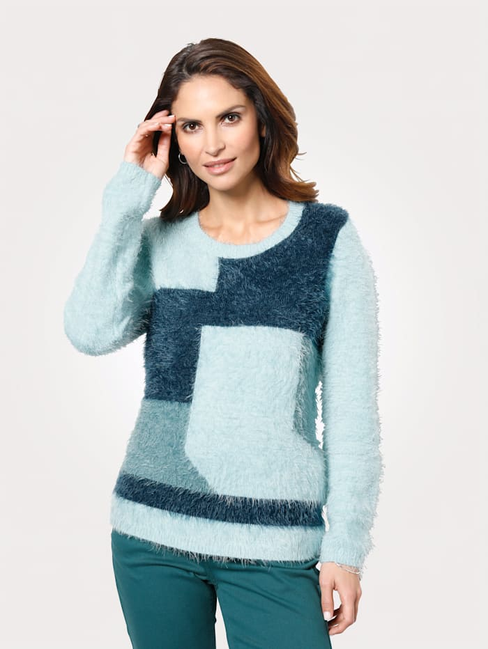 MONA Pull-over à fil fantaisie moelleux, Menthe/Turquoise