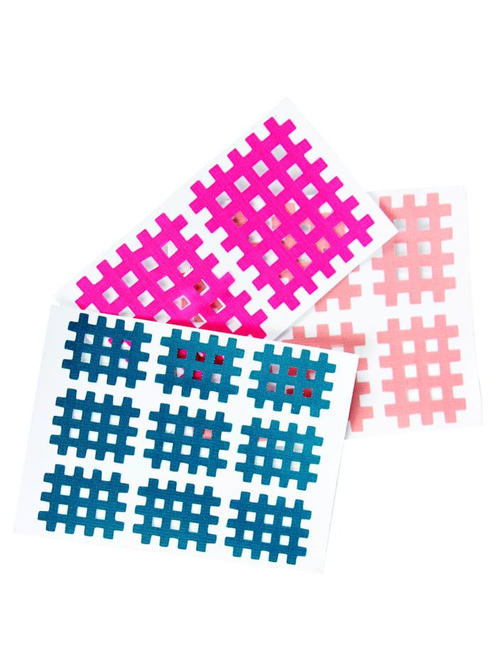 GHZ Patchs cross-tape 17 pièces, Rose vif/Bleu/Nude