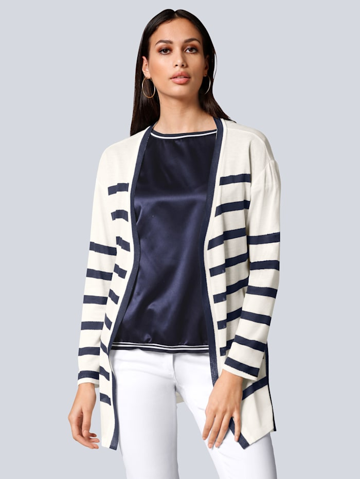 Alba Moda Shirtjacke im Streifen-Dessin, Off-white/Marineblau