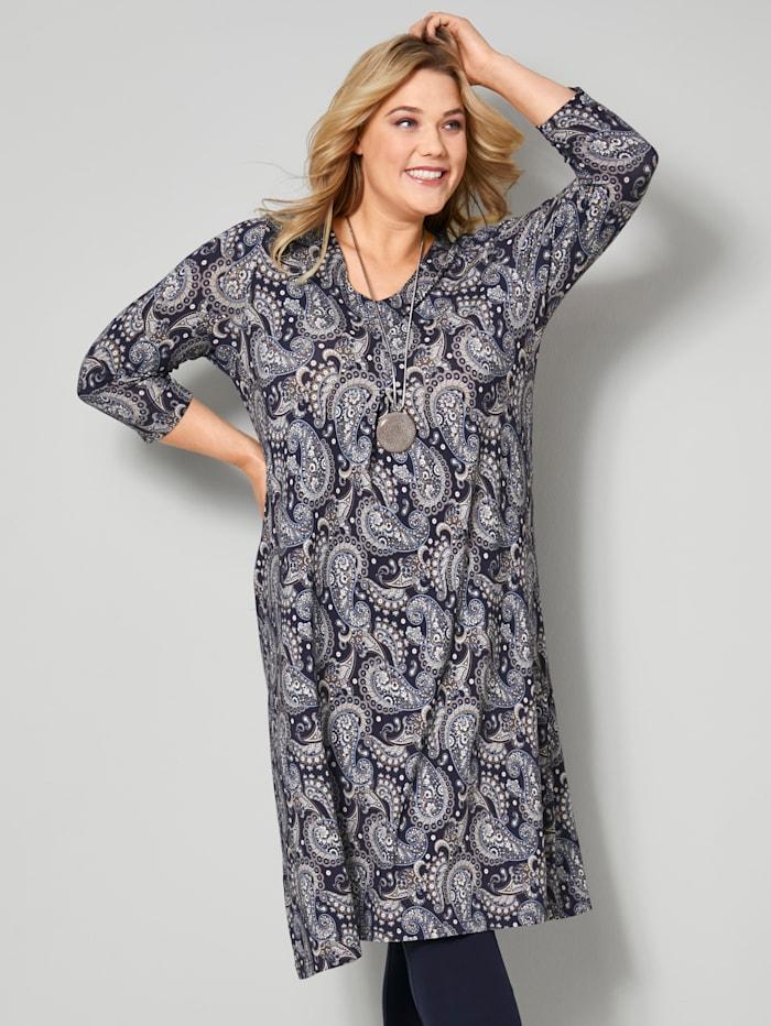 Janet & Joyce Jersey-Kleid mit tiefer Kellerfalte, Marineblau/Cognac