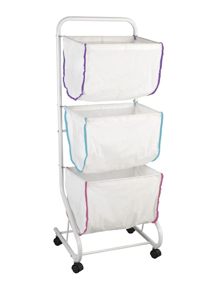 Wenko Wäschesammler Escala, mit 3 Körben, Weiß, Weiß, Weiß