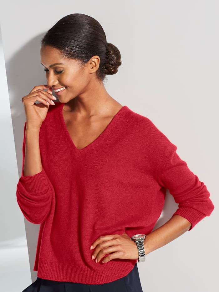 Alba Moda Oversized trui van kasjmier met V-hals, Rood