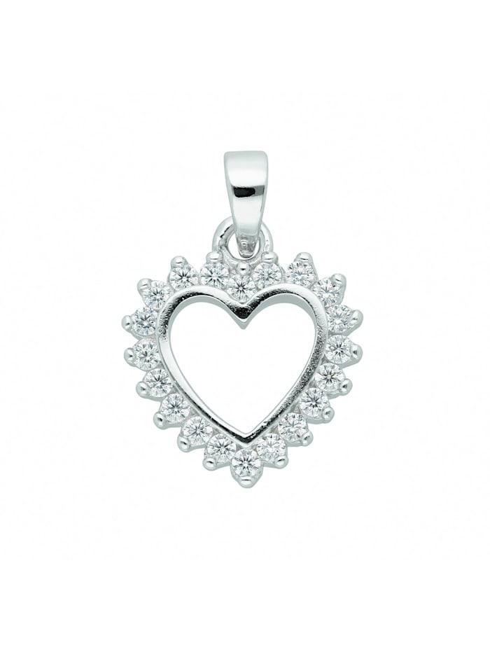 1001 Diamonds Damen Silberschmuck 925 Silber Anhänger Herz mit Zirkonia, silber
