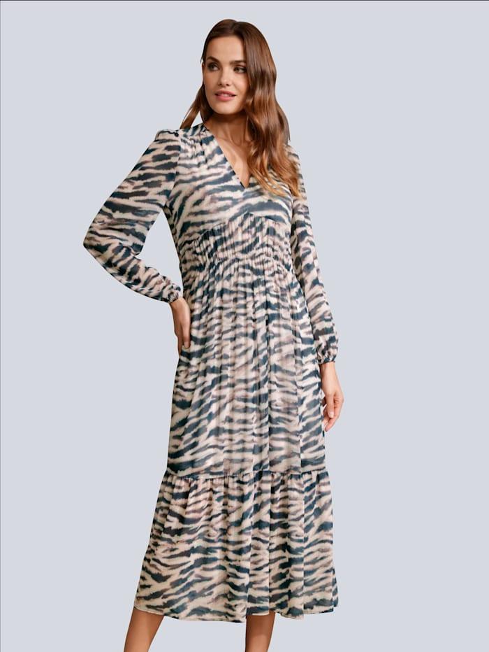 Marc Aurel Kleid im Zebra allover, Off-white/Grau